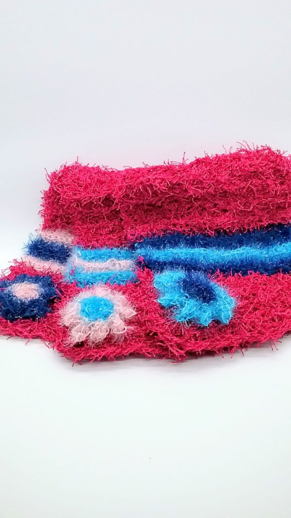 Raspberry blue and light pink dishcloths