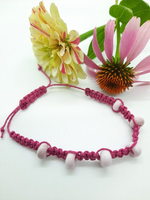 Raspberry - light pink glass beads in bright pink hemp cord bracelet