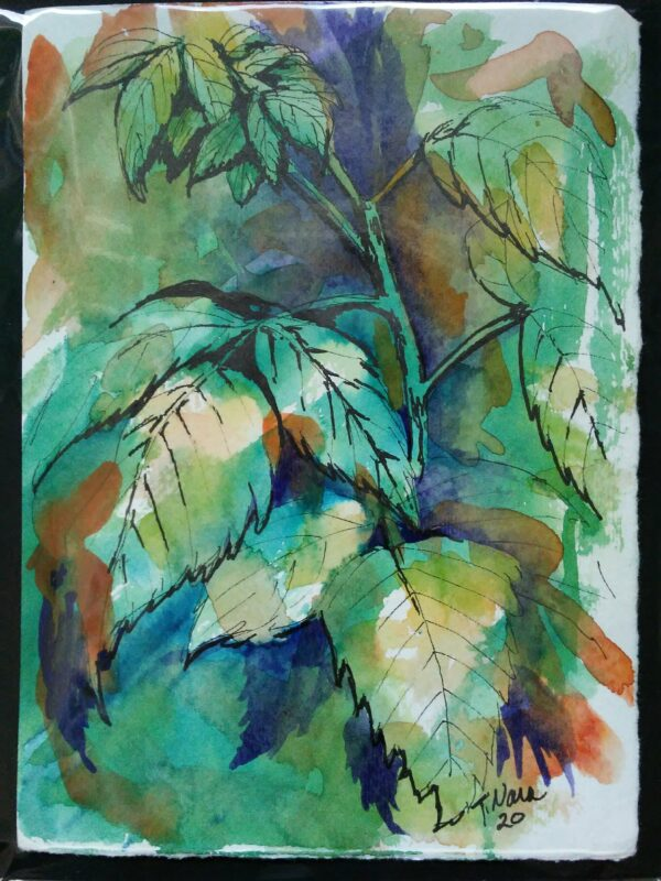 abstract painting of raspberry leaves
