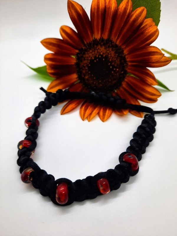 Red Dragon glass beads in black silky cord large bracelet