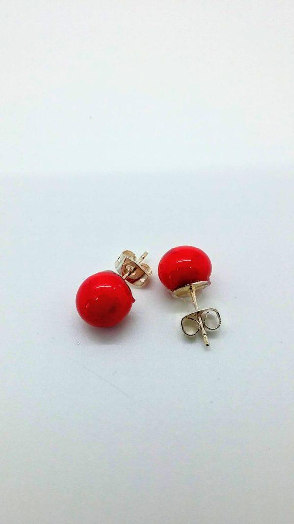 Red glass post/stud earrings