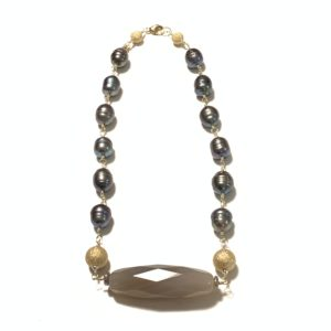 Solid Design Studios Ringed Baroque Pearl Short Necklace