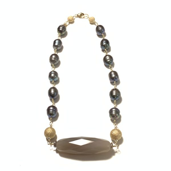 Solid Design Studios Ringed Baroque Pearl Short Necklace