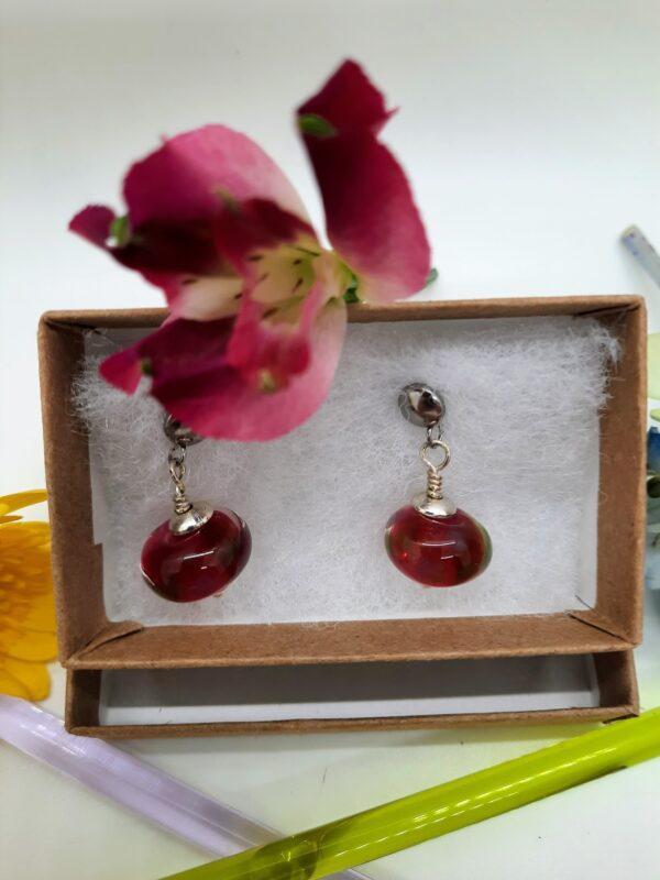 Ruby petals post- dangle earrings