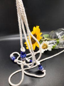Violet and cobalt blue knotted plant hanger