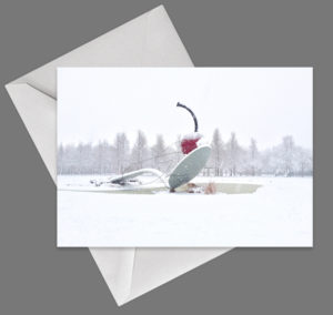 Spoon & Cherry in Winter folded card by Lisa Drew