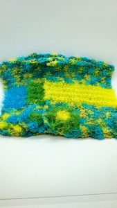 Shades of green with blue, yellow, and green dishcloths-multi