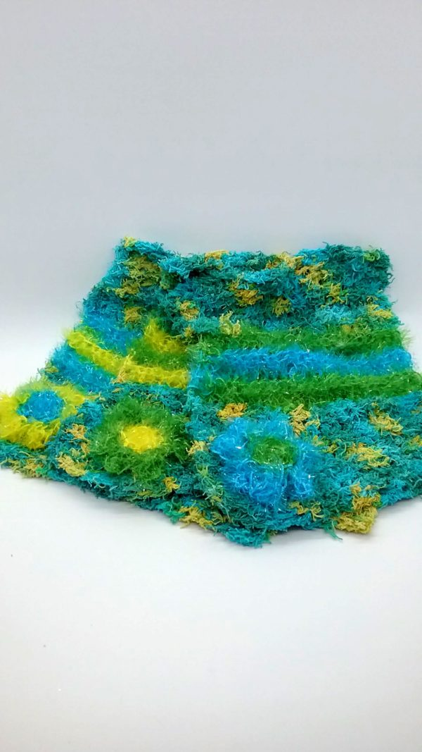 Shades of greens with blue, green, and yellow stripes dishcloth-multi