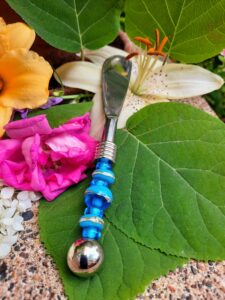 Turquoise with silver accents canape knife