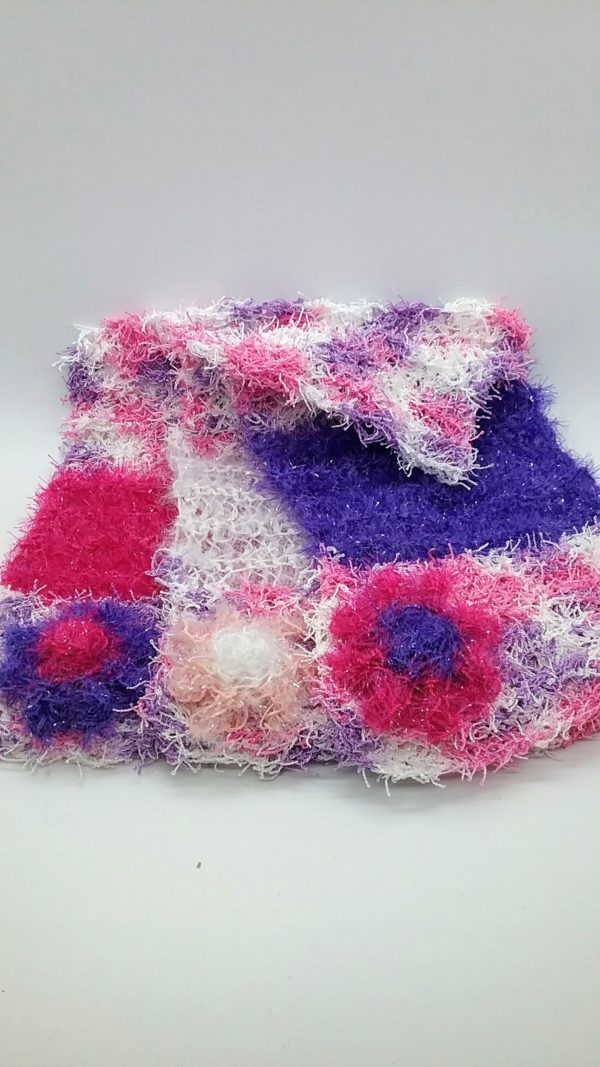 Springtime with white, pink and purple dishcloths-multi