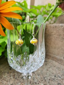 Summery white with yellows - dangle earrings