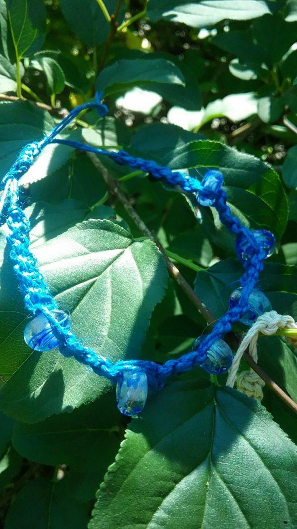 Blues glass bead in royal hemp