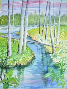 painting of trees and stream