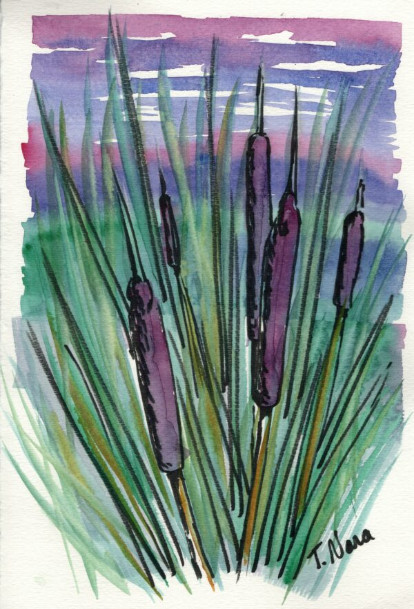 green and purple painting of cattails