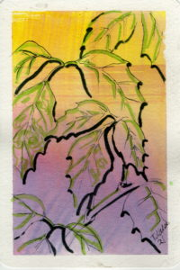 black and green line drawing of leaves on yellow purple background