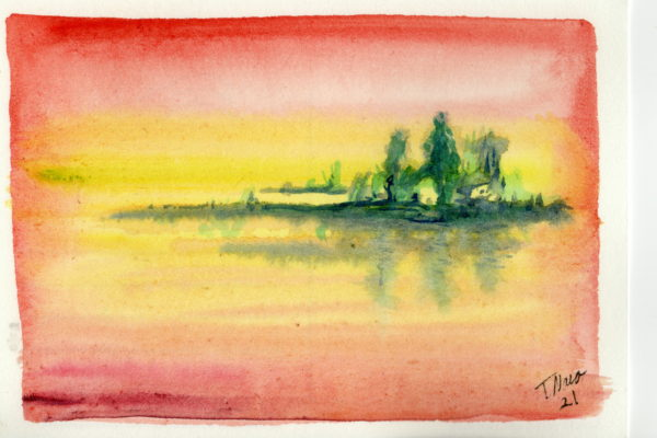 watercolor painting of lake, trees, and red yellow sky and water
