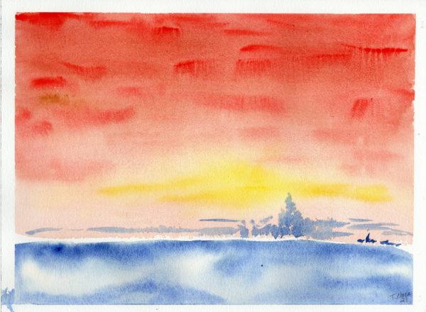 Simple watercolor seascape