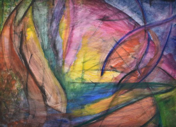 abstract painting with yellow center