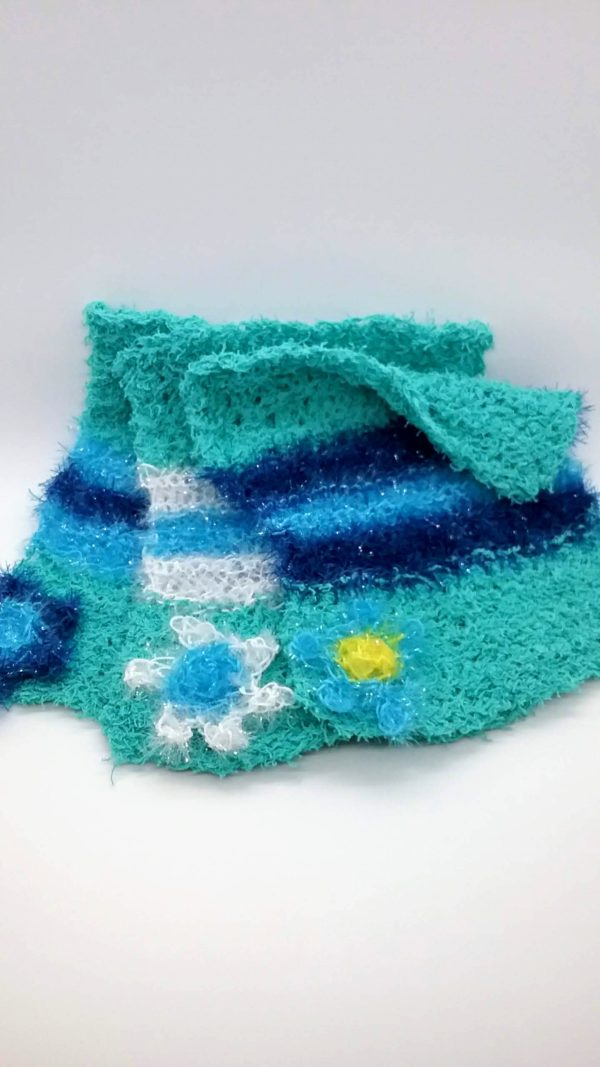 Teal with blues striped dishcloth-solid