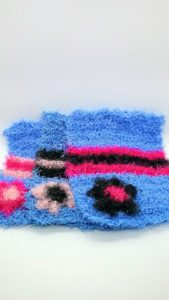 True blue with black and pinks dishcloths-solid
