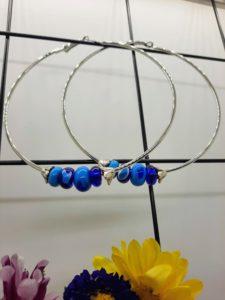 Turquoise and cobalt large hoop earrings