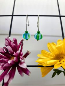 Turquoise with lime stripes beachball silver hook earrings