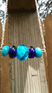 Turquoise and cobalt bar on silver necklace