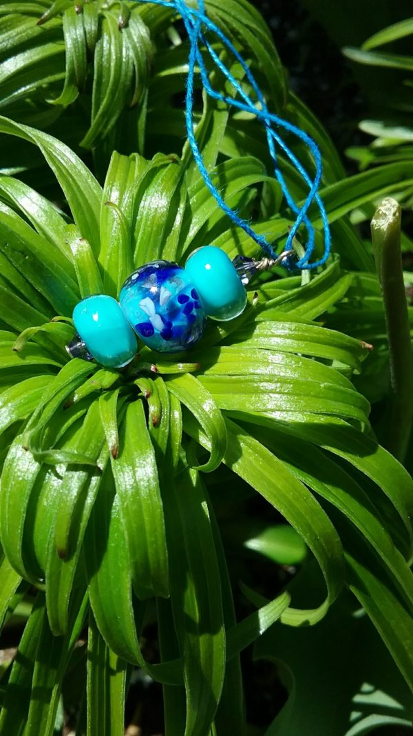 Turquoise and cobalt blue pendant on blue hemp necklace