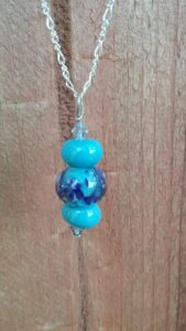 Turquoise and cobalt pendant on silver necklace