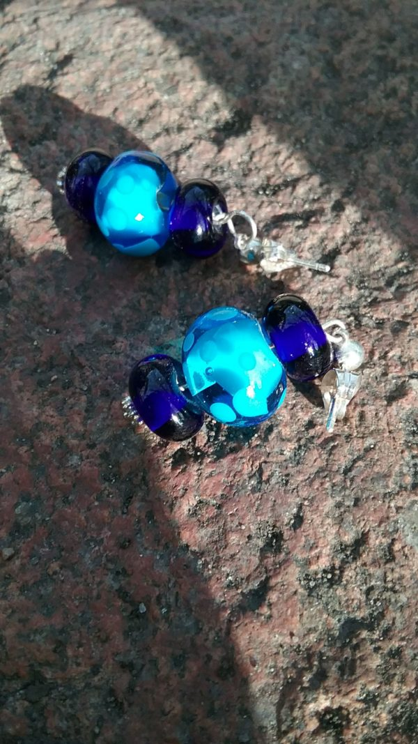 Turquoise and cobalt blue glass bead earrings with silver