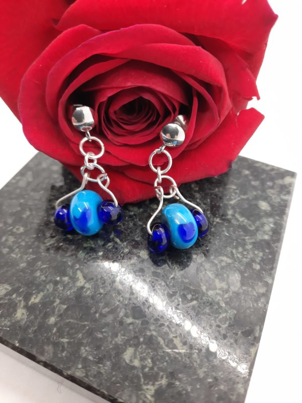 Turquoise with cobalt heart and spacer earrings