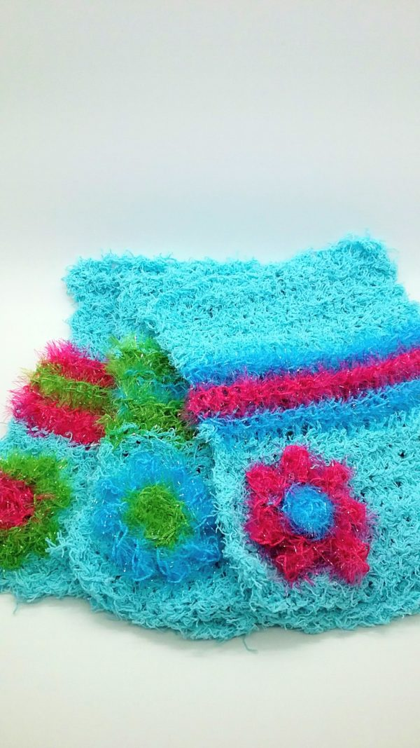 Turquoise green and pink dishcloths