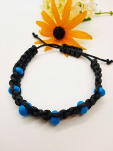 Peace - turquoise glass beads in black silky - large