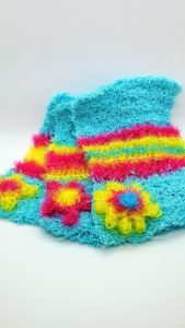 Turquoise with pink, yellow and blue dishcloths-solid