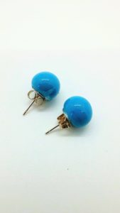 Turquoise glass post earrings