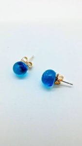Turquoise (transparent) glass post earrings