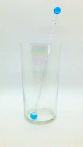 Turquoise (transparent) glass swirly swizzle stick