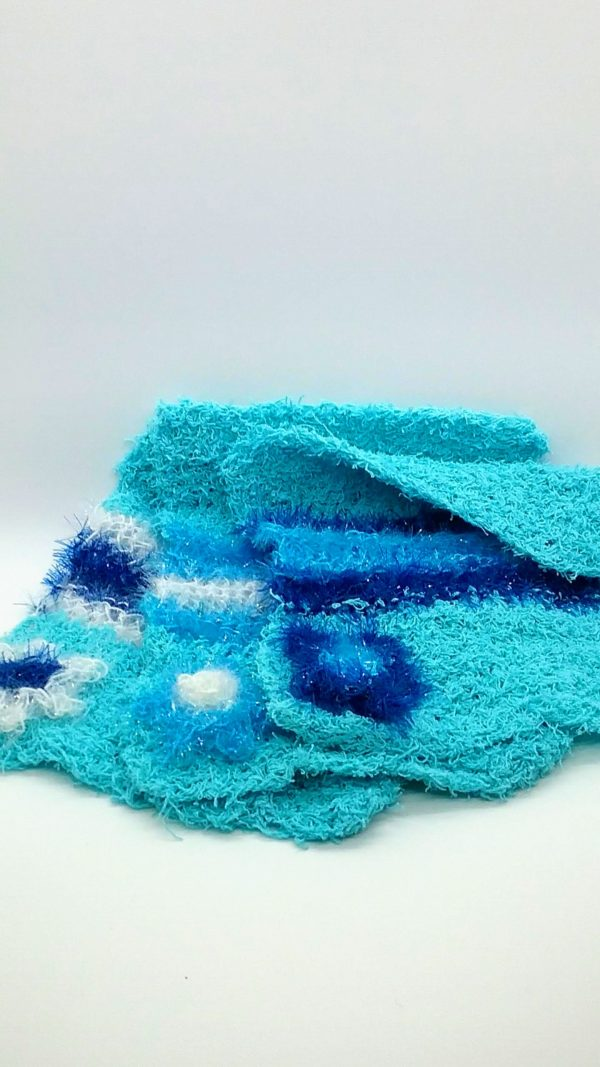 Turquoise with white, light and dark blue dishcloths-solid