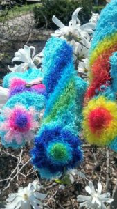 Turquoise with rainbows dishcloths-solid