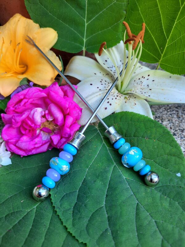 Turquoise with silver foil appy forks