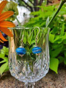 Turquoise with gold swirl - dangle earrings