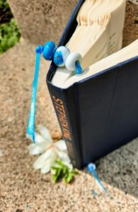 Turquoise and white bookmark