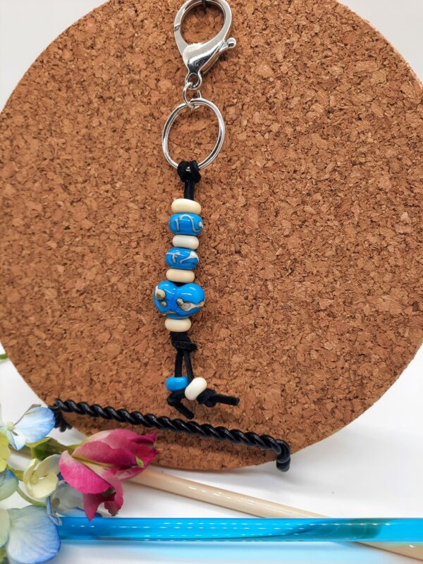 Turquoise with ivory heart - keychain