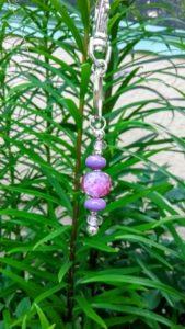 Violet and lavender transparent 5 bead keychain