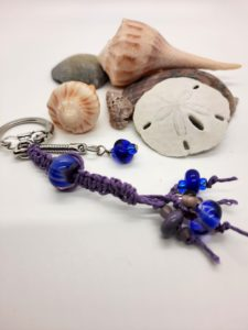 Lavender Cobalt purple macramé zipper pull