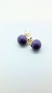 Violet purple glass post/stud earrings