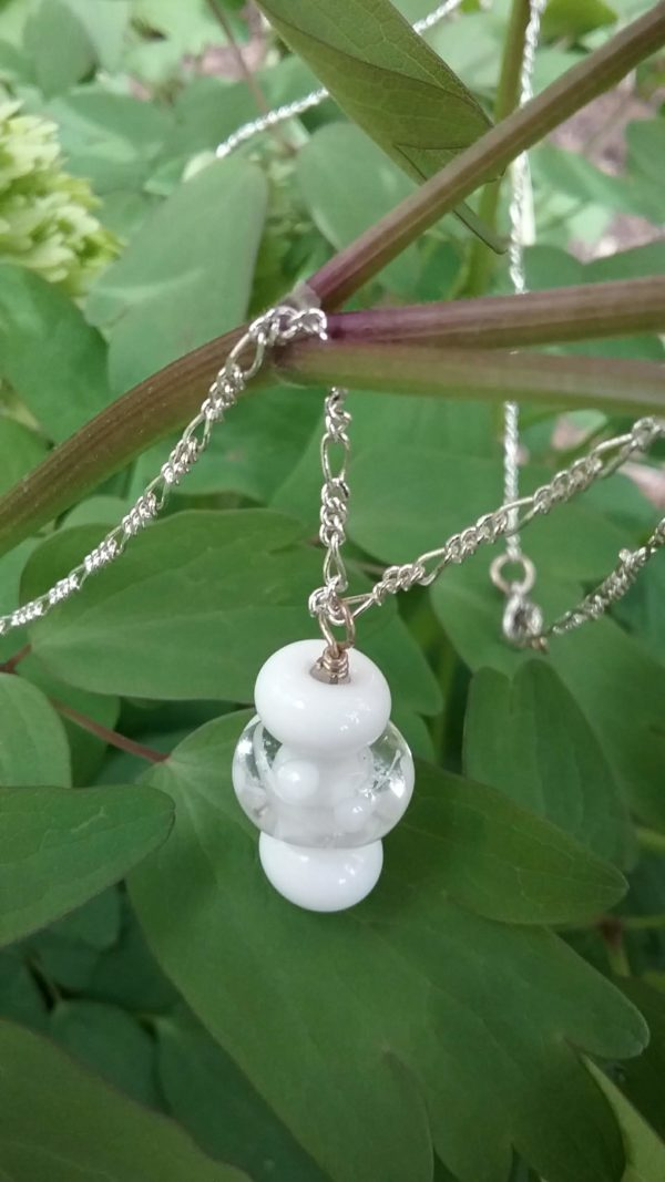 White glass beads on silver chain necklace