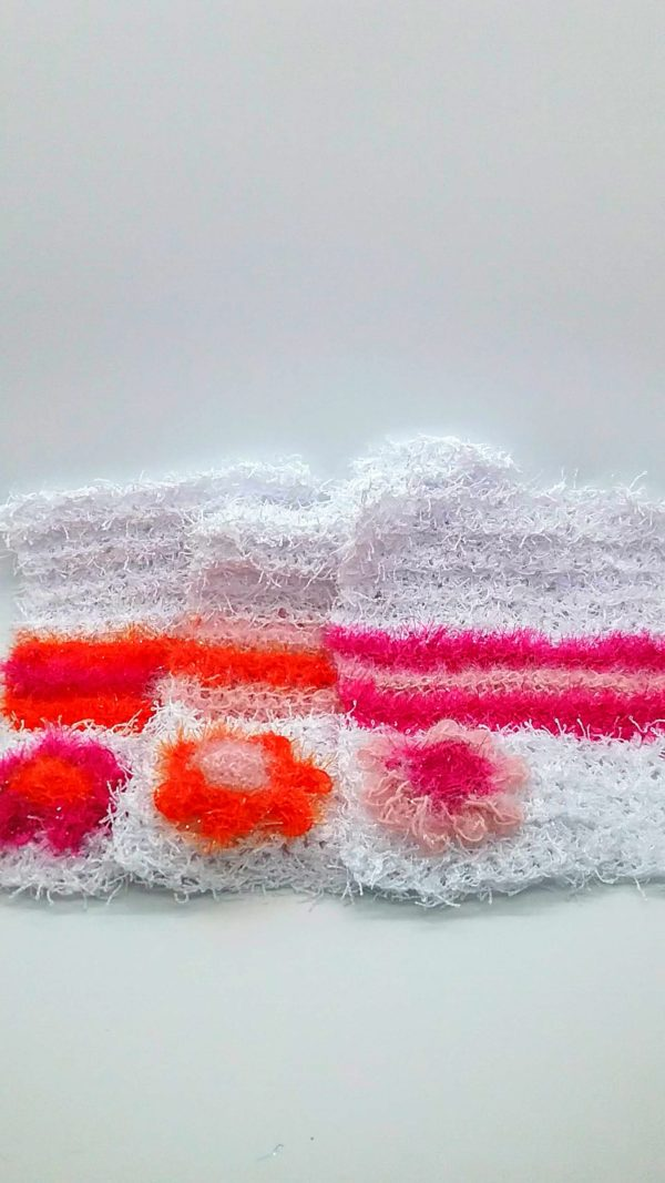 White with pinks and orange dishcloths-solid