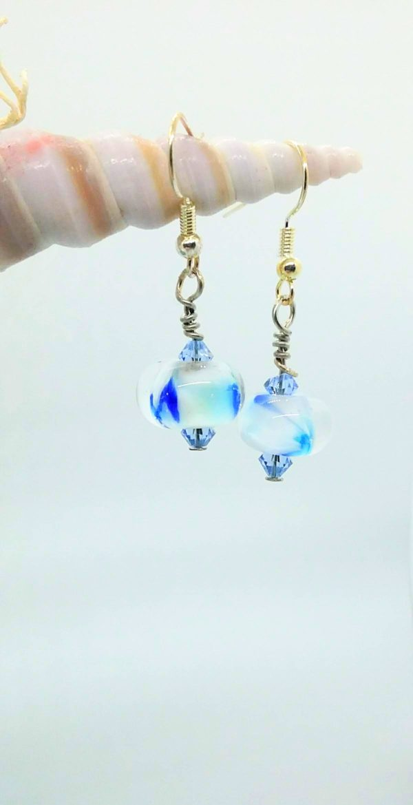 White with blue dots earrings