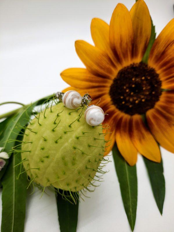 Gold swirl - white glass post earrings